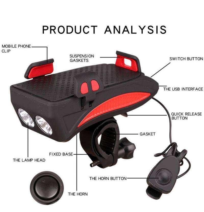 H6377bd5bf7674bfbb3b837ff475ba3d93 Multi-function Bicycle Light phone holder + flashlight +power bank