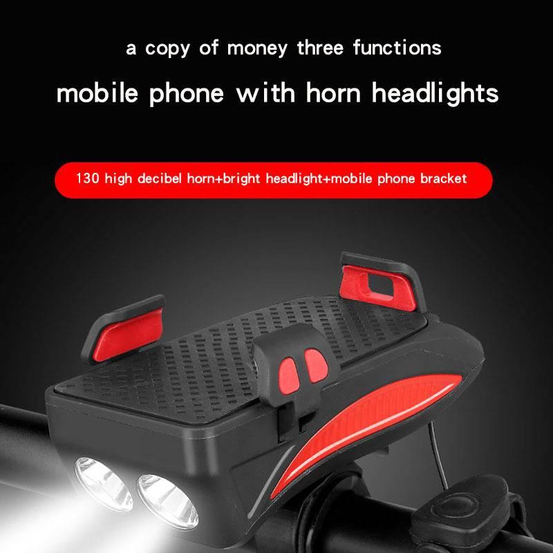 H8bba5bb1e6d94f0c951639e138f4e2ef0 Multi-function Bicycle Light phone holder + flashlight +power bank