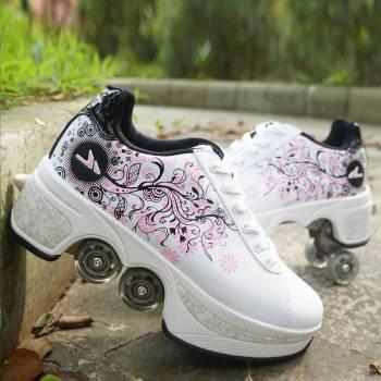 Hot Shoes Casual Sneakers Walk Skates Deform Wheel Skates for Adult Men Women Unisex Couple Childred 4 Turn Your Shoe Into Skate - Skateshoe