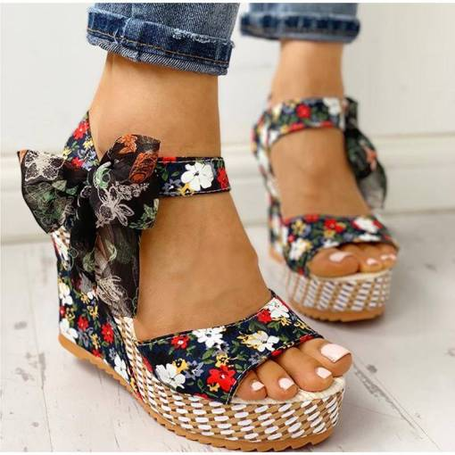 Lucyever Summer Beach Boho Floral Wedge Sandals Women Ankle Strap Platform Gladiator Shoes Woman High Heels Must-Have Summer Gifts You Will Love