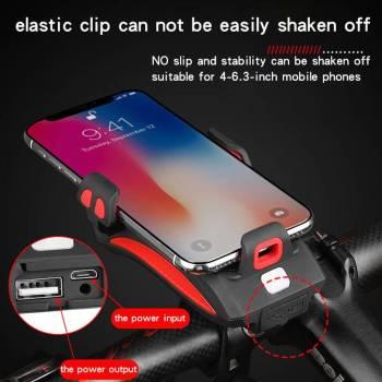 Multi function Bicycle Light USB Rechargeable LED Bike Head Lamp Bike Horn Phone Holder Powerbank 4 1 Multi-function Bicycle Light phone holder + flashlight +power bank