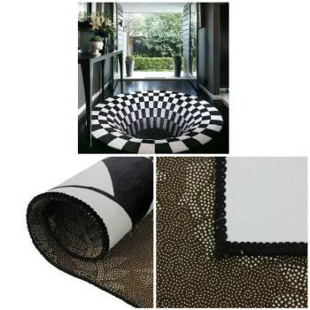 3D Swirl Print Optical Illusion Areas Rug Carpet Floor Pad Non slip Doormat Mats for Home 2 3D Vortex Illusion Rug
