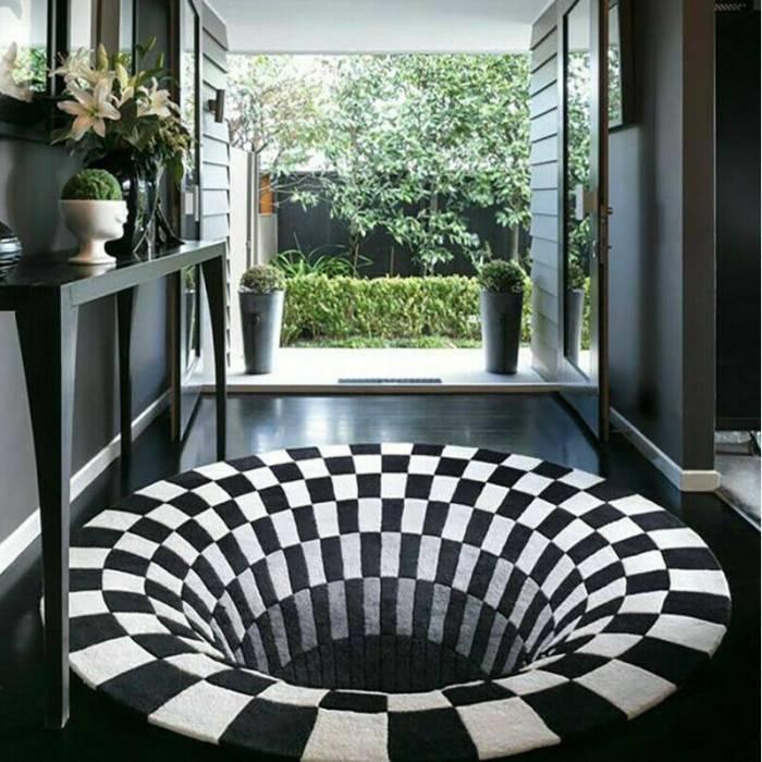 H08492eaef1fc40fba3a9373231ad06d9N 3D Vortex Illusion Rug