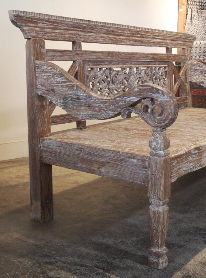 Reclaimed Teak Carved Bench Daybed With Whitewash Finish