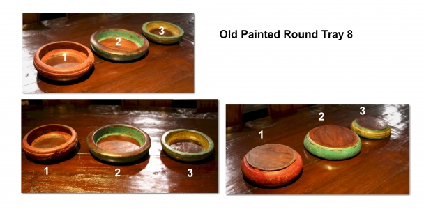 Old Painted Round Tray 8