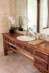 teak, reclaimed, sink, bathroom