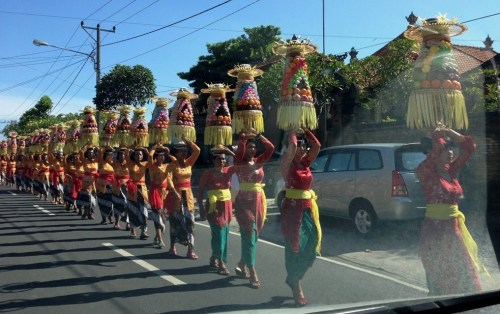 Procession of Balinese Women with Offerings