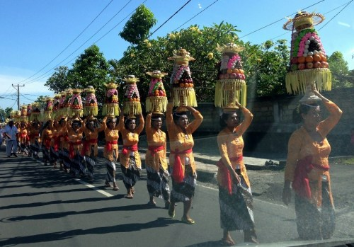 Procession of Balinese Women with Ceremonial Offerings