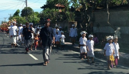 Bali Ceremonial Procession to Temple boys