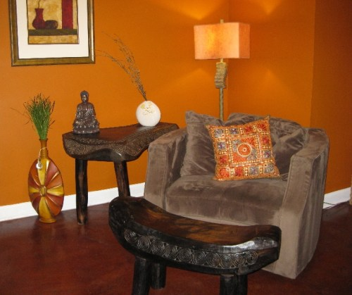 Carved Tribal Bench & Carved Tribal Side Table from Gado Gado