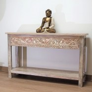 Whitewashed Carved Console Table with Shelf