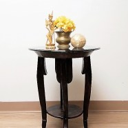 Old Loom Accent Table with Glass Top