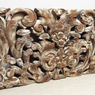 Old Hand Carved Whitewashed Panel