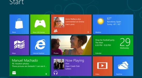Página inicio nuevo Windows 8