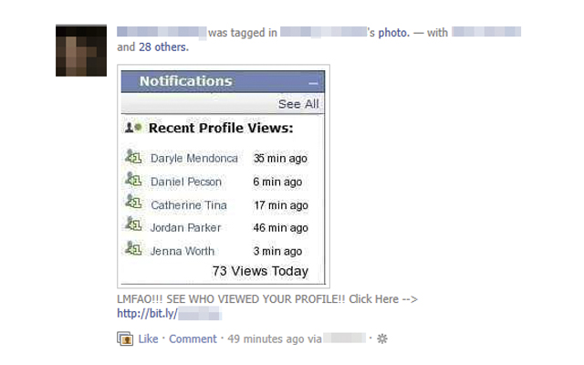 Las aplicacaciones que te informan de quién visita tu pefil de Facebook no son fiables.