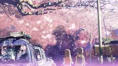 Konachan.com - 39521 brown_hair byousoku_5_centimetre car cherry_blossoms petals shinkai_makoto shinohara_akari toono_takaki tree