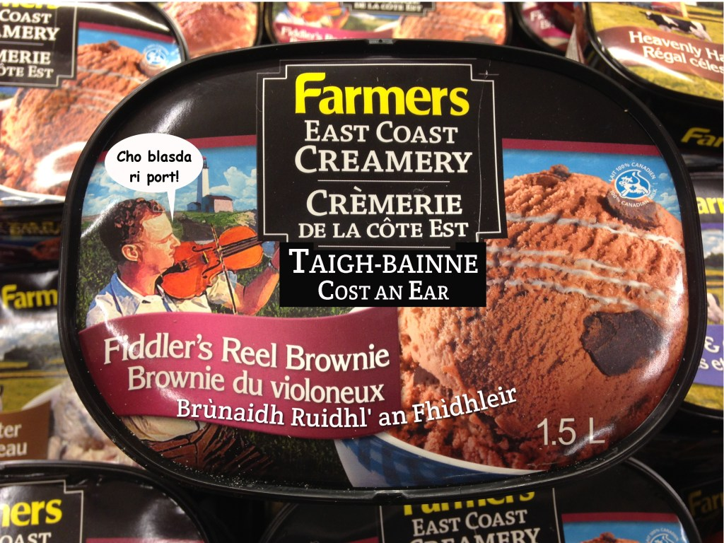 Fiddler's Reel Brownie ice cream with a Gaelic label