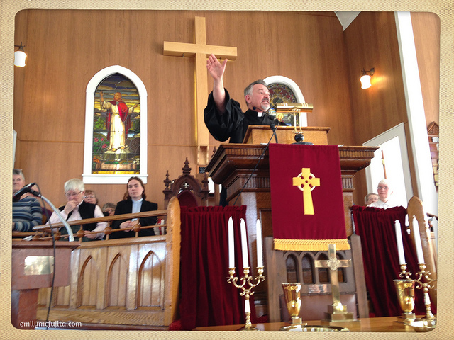 Ivan Gregan preaching at Little Narrows Presbyterian Church