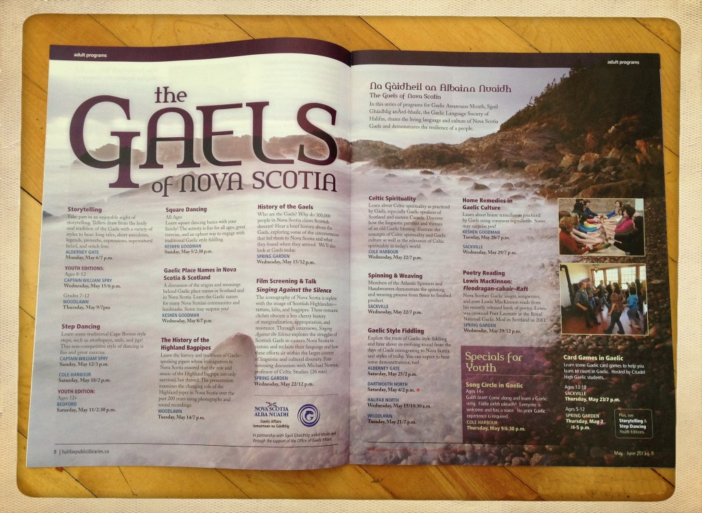 "Halifax Library Guide ""Gaels of NS"" workshop listings"