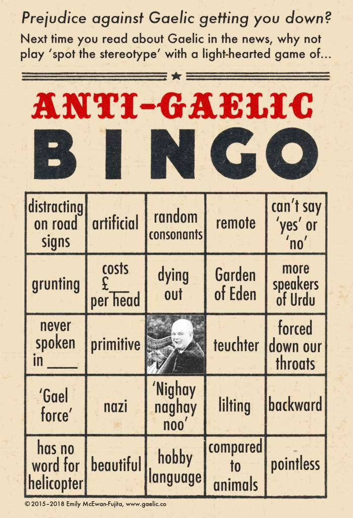Anti-Gaelic Bingo Card #2