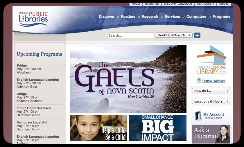 "Halifx Public Library Webpage featuring ""Gaels of Nova Scotia"" Program"