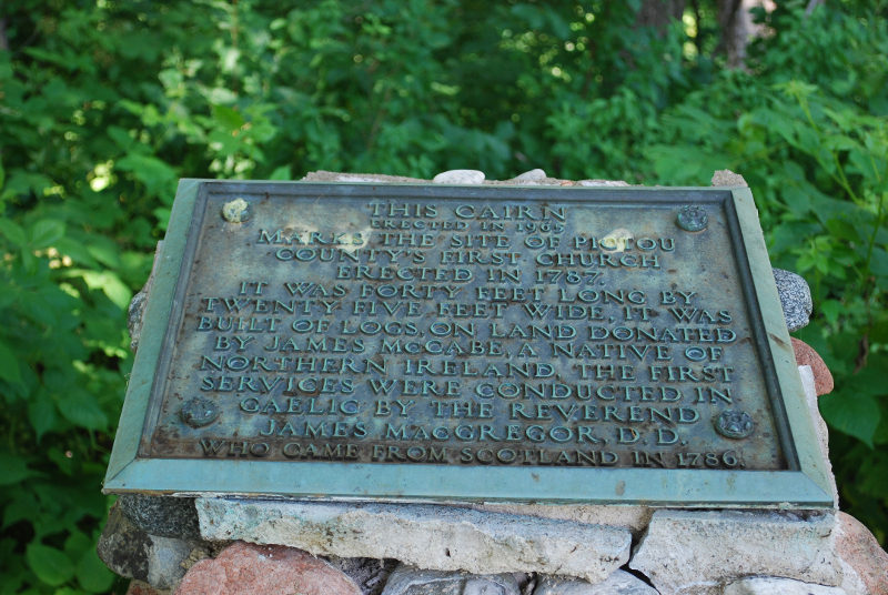 Plaque commemorating the original Log Cabin Church built on land donated by James McCabe of Belfast, Northern Ireland