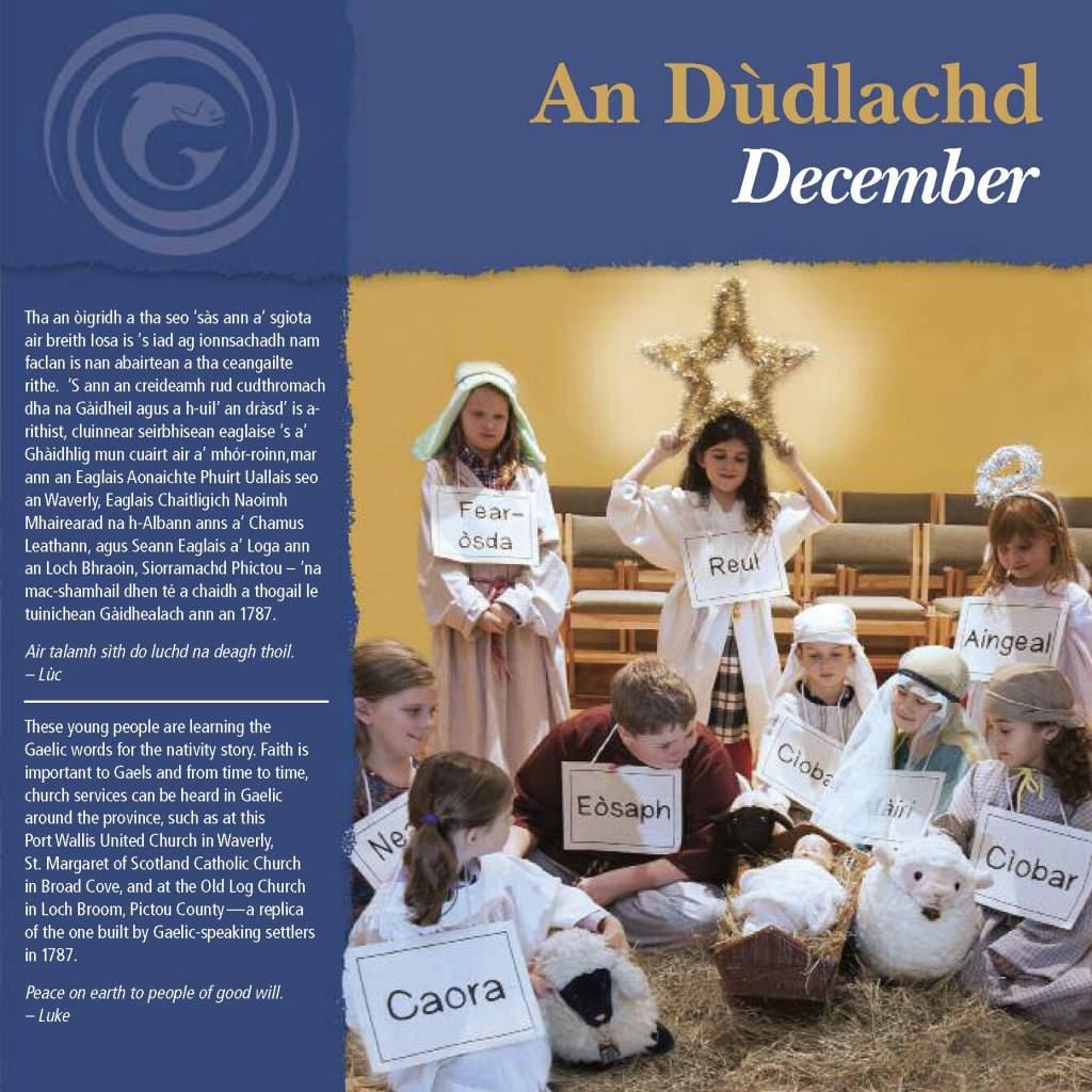 A Gaelic Nativity play tableau for the 2013 Gaelic Affairs calendar, Province of Nova Scotia