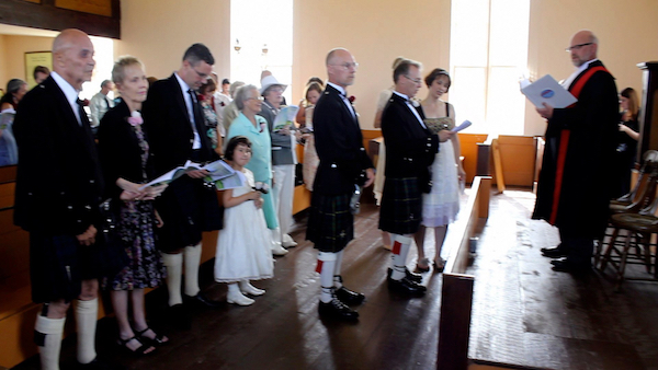 Singing a Gaelic hymn