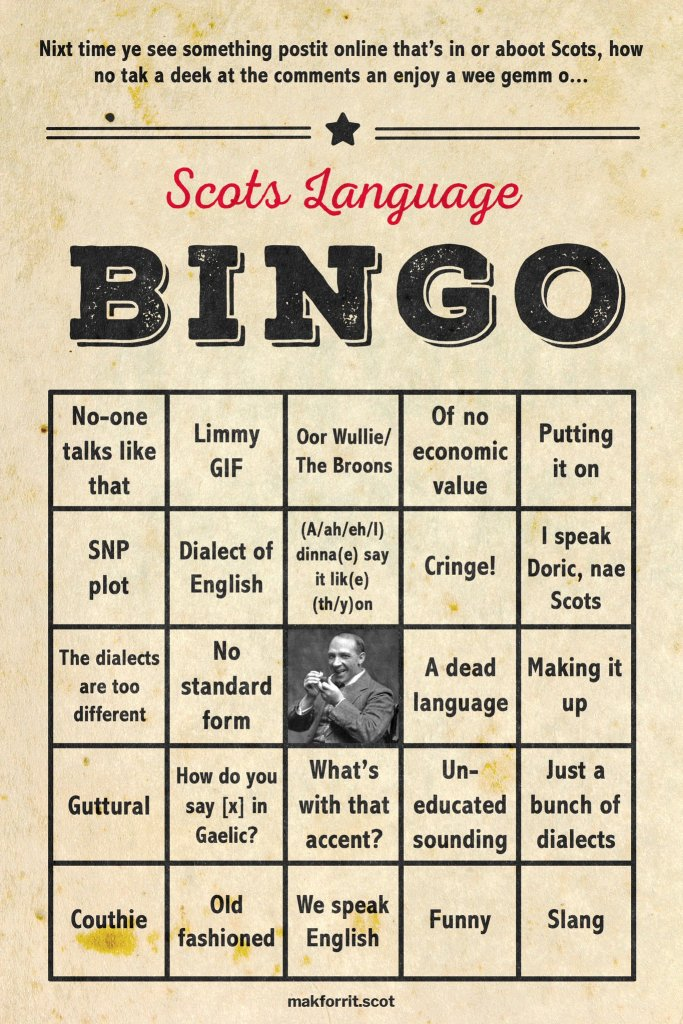 Anti-Scots Language Bingo Card by Makforrit.com