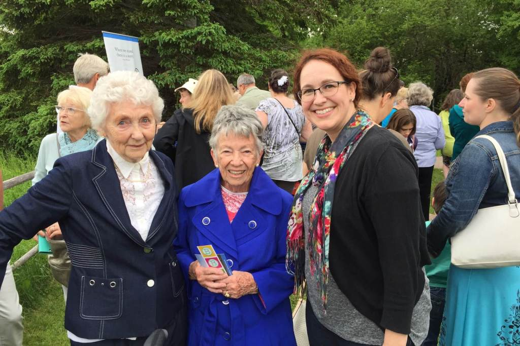 Dr. Emily McEwan (right) with Mrs. Jennie Macneill (left) and Dr. Elizabeth Waterston, Professor Emeritus, University of Guelph (middle) at the Macneill Homestead site in June 2018 for the dedication of the Project Bookmark for L. M. Montgomery. It was a great pleasure and honour to meet these wonderful women who have done so much for Montgomery's legacy in PEI, Canada, and the world.