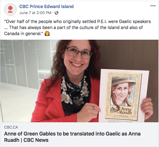 CBC story about Anna Ruadh, the Gaelic translation of Anne of Green Gables