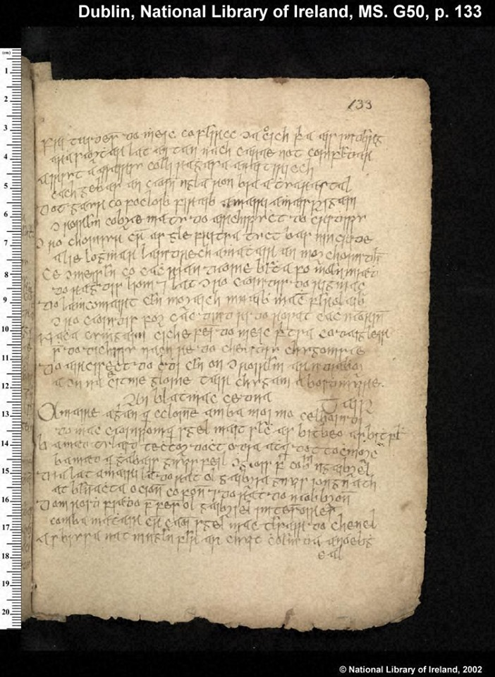 Blathmac's poem in MS G50, p. 133, in the National Library of Ireland, Dublin