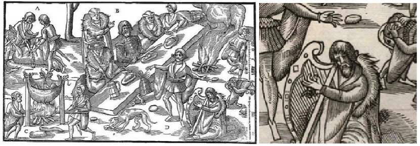 Excerpt from John Derrick's Images of Irelande (1581) showing what appears to be a professional braigetóir, farter, or flatulist among other entertainers