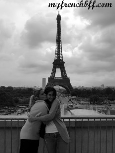 """Sister and sister from another mother posing in front """"the Old Lady"""" (the Eiffel Tower)"""