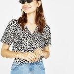 t shirt noeud bershka leopard