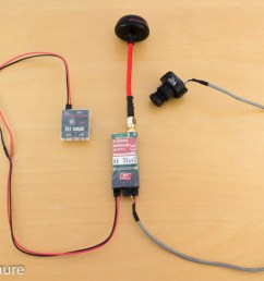 fpv components are wired this way the emitter is powered by the battery through the power filter a rc circuit the emitter features a converter to power  [ 1200 x 800 Pixel ]