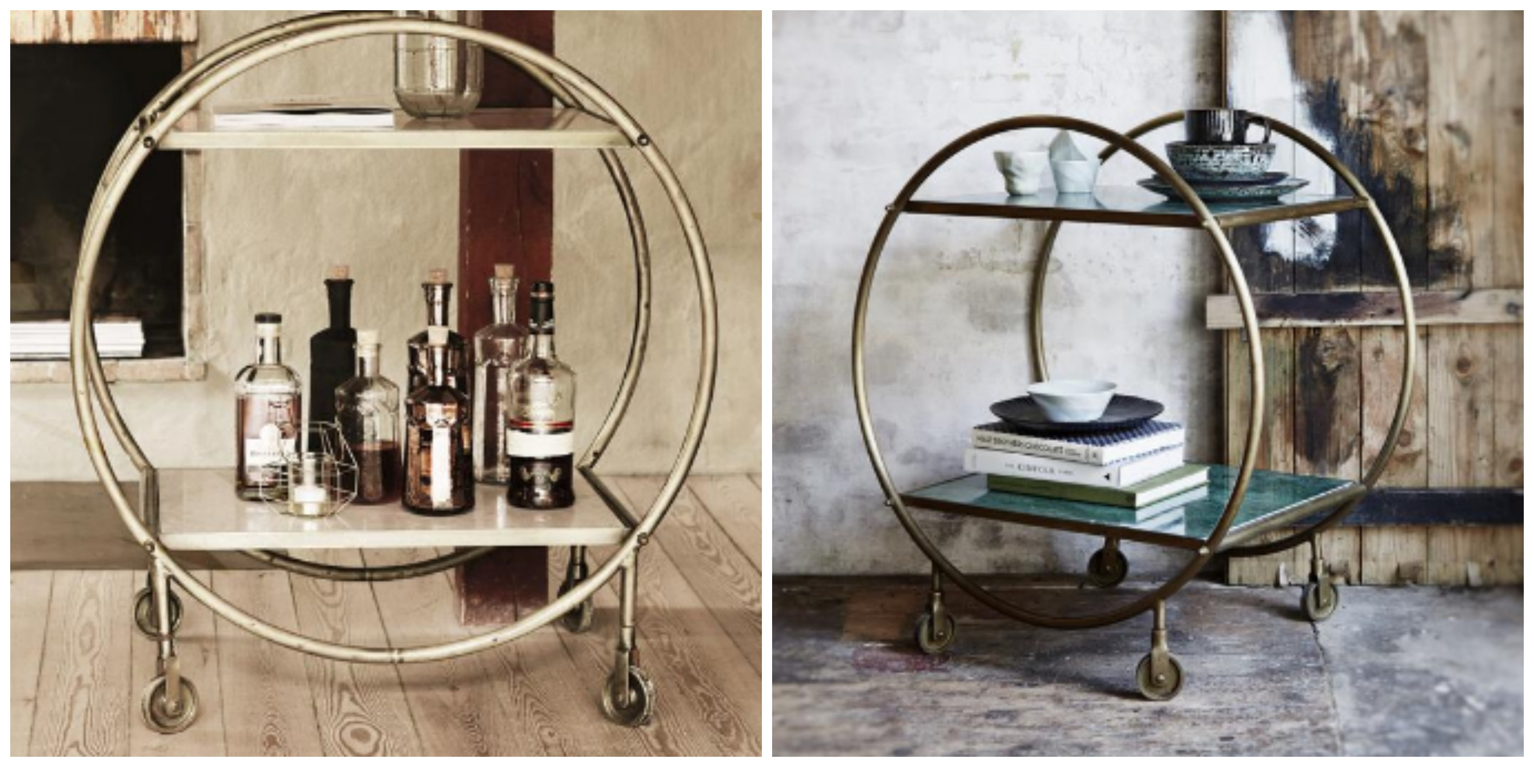 Marble, Brass, trolley, white, green, home, interiors, ireland