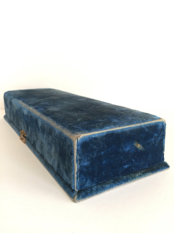 blue antique velvet box etsy