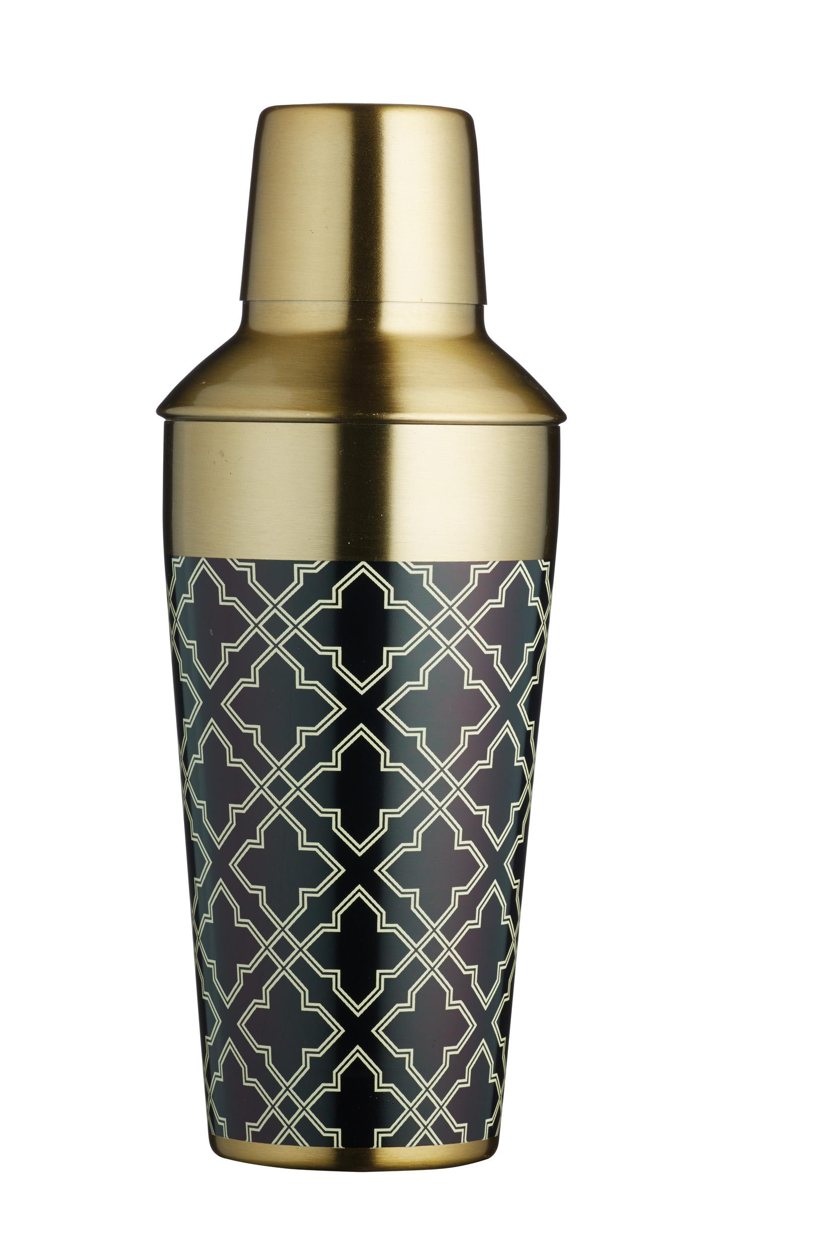 Bar Craft 650ml Art Deco Brass Finish Cocktail Shaker