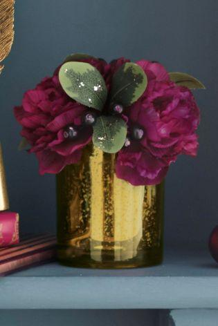 Plum Ranunculus Cluster In Mercury Pot flower vase gold next