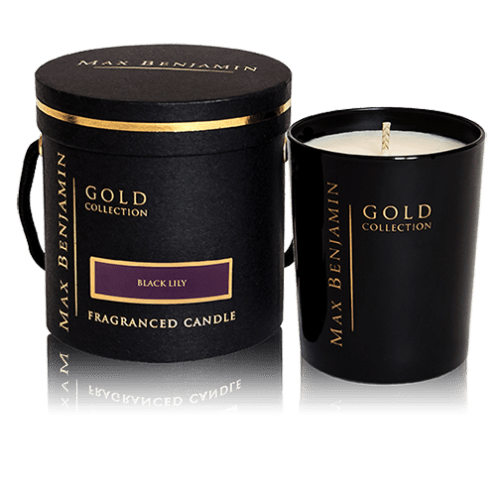 max benjamin scented candle black lily gold collection