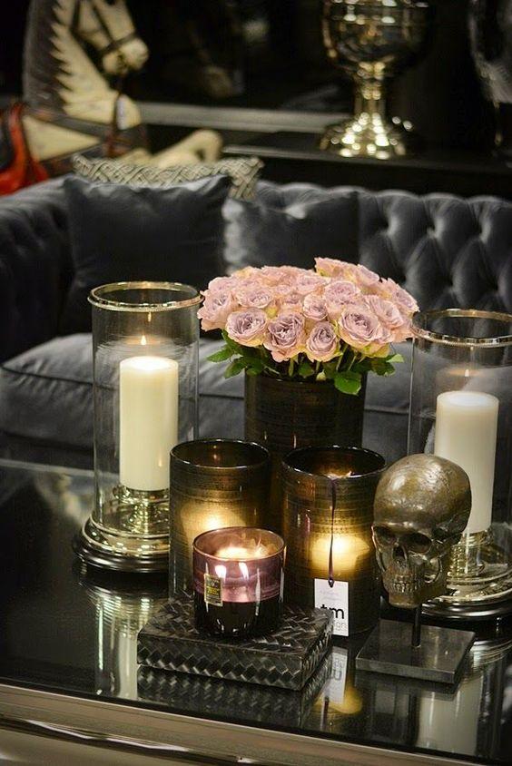 halloween decor the decorista skull candle flowers