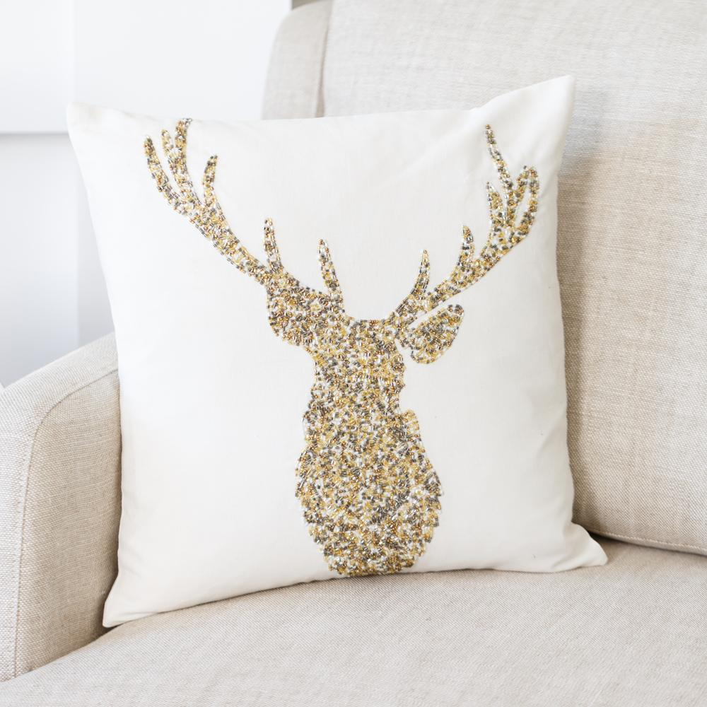 sequined stag cushion christmas