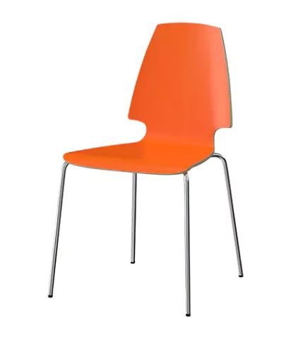 chair dining room furniture orange chrome