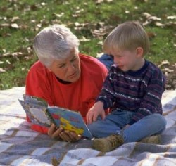 grandma reading to child