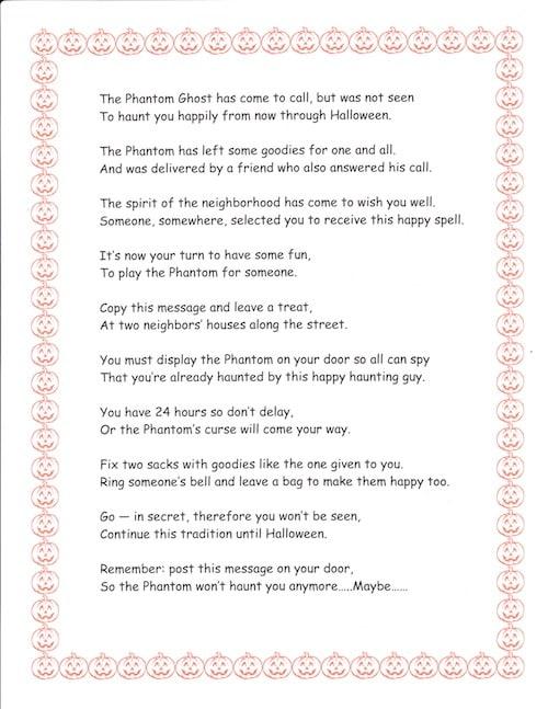 Halloween phantom poem