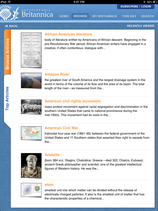 Encyclopedia Britannica App Review, from a 13 part series on iPad apps by GagenGirls.com