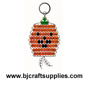 Beaded Pumpkin Keyring Pattern via www.bjcraftsupplies.com