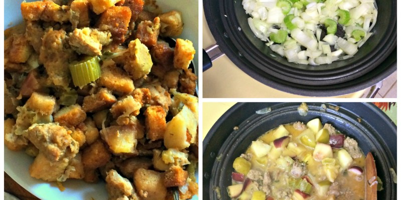Sausage & Apple Stuffing - a moist and flavourful addition to any holiday meal AND it can be made in the slow cooker! Check it out @ GagenGirls.com