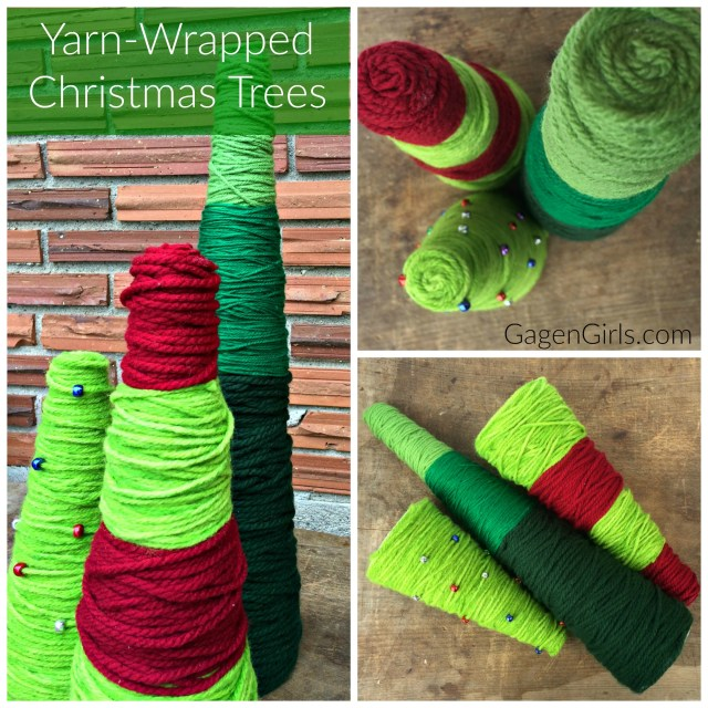 These elegantly rustic Yarn-Wrapped Christmas Trees only take 15 minutes to create! Check out the full tutorial at GagenGirls.com